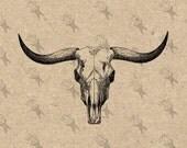 Bull Buffalo Skull Vintage image Instant Download Digital printable clipart graphic Burlap Fabric Transfer Iron On  Decor T-shirt HQ 300dpi