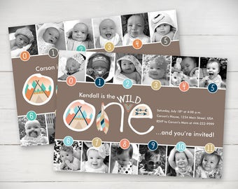 Wild One Timeline 1st Birthday Invitation (Girl or Boy) - Digital File