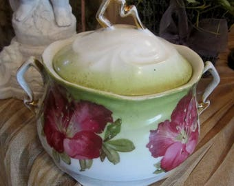 Vintage Shabby Chic Candy Bowl w/Lid Pink Poppies Farmhouse Cottage Prairie Chic