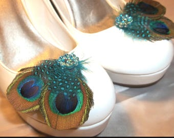 Bridal Shoe Clips - Purple Green Blue Peacock Feathers, Peacock Shoe Clips, Feathered Shoe Clips, Wedding Shoe Clips