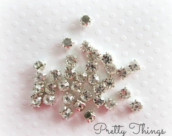 Sale 4mm Sew on Rhinestones. Small Sew on Rhinestones.  50 pcs