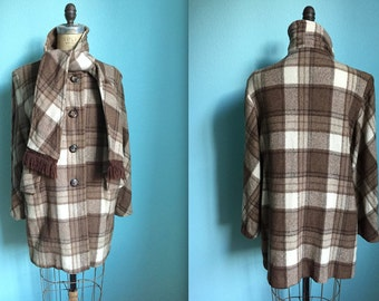 vintage 50s brown plaid wool coat / women's small to medium / attached scarf / as is