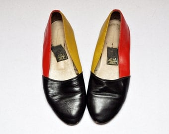 Vintage Leather Three Tone Colorblock Slip On Ballet Flats Size 6.5