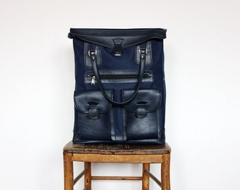NOS Vintage Navy Faux Leather and Canvas Men's Retro Luggage Vegan Travel Bag