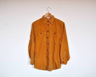 Vintage Mustard Corduroy Button Up Boyfriend Shirt