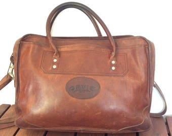 Distressed Vintage Genuine Orvis Brown Leather Briefcase Messenger Bag