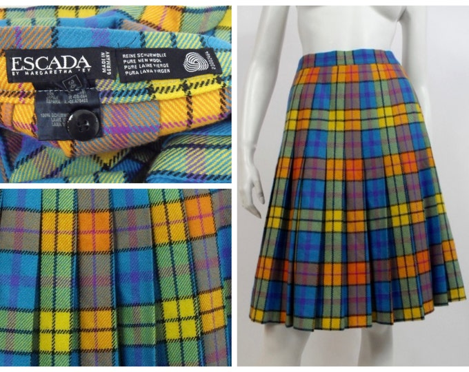 Vintage Escada Pleated Wool Plaid Skirt - Turquoise, Yellow and Orange Large Plaid Pleated Wool Skirt - Vintage Designer - Euro Size 36