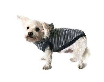 Gray Striped Dog Hoodie - Dog Clothes - Dog Shirt-Sleeveless Dog Hoodie-Dog Clothing -Dog Sweater-Clothes for Dogs - Dog Hoodies