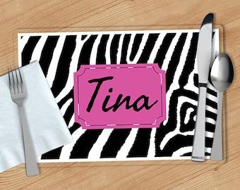 Zebra Print -  Personalized Placemat, Customized Placemats, Custom Placemat, Personalized Gift
