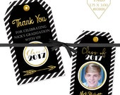 Graduation Printable Tags, Photo Tags, Personalized Graduation Tags, Thank you Tags, Party Favor Tags, Custom Tags, Open House Tags, #101816
