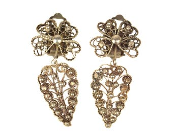 Vintage Cannetille Dangling Clip Earrings // Art Deco 800 Silver Heart Shaped Filigree Jewelry