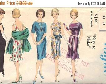50% OFF Vintage Vogue Patterns No. 5357 Size 14, Bust 36 // 1960's Misses Dress in Two Lengths, Optional Godet, Straight Stole, Deep V Back