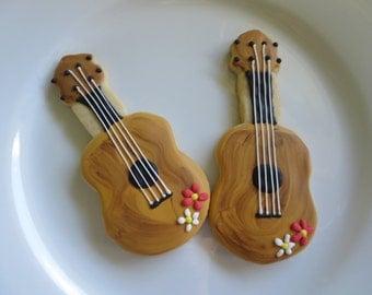 Hawaiian Cookies, Ukulele, Ukulele Cookies, Sugar Cookies, Hawaii, Made in Hawaii, Guitar, Tropical, Tiki, Luau