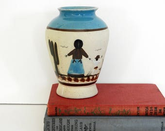 Mexican Pottery Vase- Mother and Child