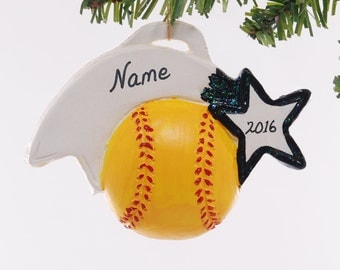 Soft ball ornament - Christmas softball ornament - Coach - Black Team Color - Sports ornament personalized softball Christmas ornament (20)