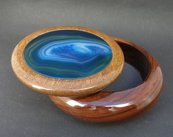 Banded Agate Brazilian Exotic Wood Trinket, Dresser, Stamp, Jewelry Box  - Large Blue Agate New Boxes - Liquidation Pricing