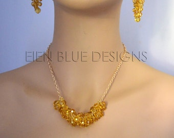 Amber Cluster Crystal Necklace, Orange Crystal Necklace, Golden Crystal Necklace, Cluster Necklace,Golden Crystal Jewelry, Crystal Necklace