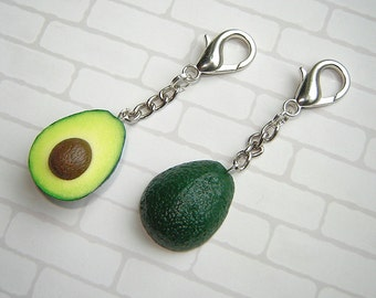 zipper charm, best friend gift bag charm set of 2, gift for freinds, couples gift, polymer clay food charm, avocado keychain