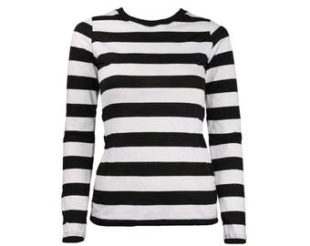 Women's Long Sleeve Black & White Striped Shirt