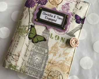 Brag Book  Personalized Photo Album holds 48 Photos - purple butterfly fabric