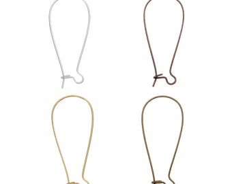 200 Kidney Ear Wires Earring Hooks - Assorted - 38x16mm - Ships IMMEDIATELY from California - EF97