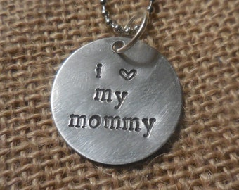 Hand-stamped Mommy Love Necklace