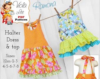 Ramona Girls Dress Pattern, pdf. Toddler Halter Top Dress. Girls pdf Sewing Pattern. Girls Summer Dress, Toddler Dress Pattern. Summer Top
