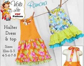 Ramona Toddler Dress Pattern. Halter Top Pattern. Girls Sewing Pattern. Toddler Halter Top Pattern, Summer Girls Dress Patterns. pdf Pattern