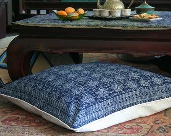 "30"" Boho Floor Pillow, Hmong Indigo Batik Pillow, Large  Ethnic Floor Cushion Cover, Free Worldwide Shipping"