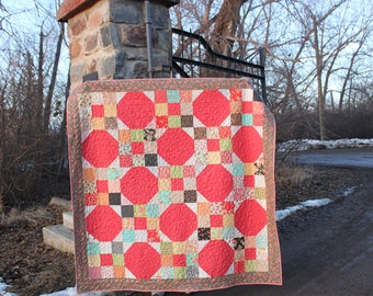 Homemade Traditional Quilt, Coral Red, Nine Patch and Snowball Quilt, Cherries Strawberries and Florals, Large Lap Quilt, Twin Size Quilt
