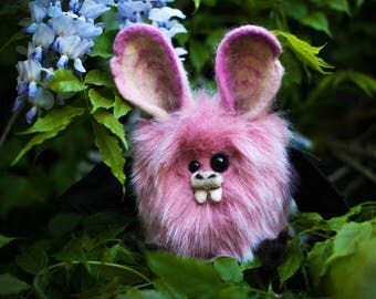 NERINE - Cherry Blossom Plush Bat, OOAK Bat Soft Sculpture, Fibre Art, Plush