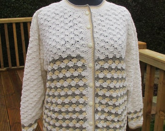 Ladies plus size cotton crochet jacket in shades of cream and browns