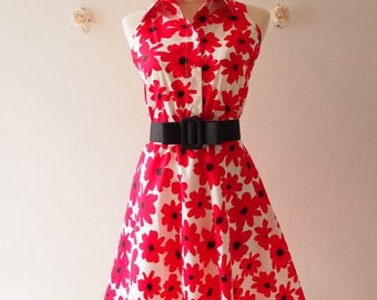Red Floral Dress Vintage Style Sundress Red Summer Dress Shirt Dress with Black Belt Ready to Ship - Size S (US4-6)