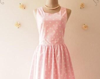 Clearance SALE SALE ---  Pale Baby Pink Summer Dress Cute Sun Dress Polka Dot Retro Dress Vintage Inspired Dress Dancing Tea Party Dress ...