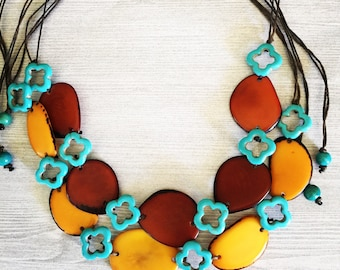 Yellow or Brown Tagua Nut & Turquoise Adjustable Necklace
