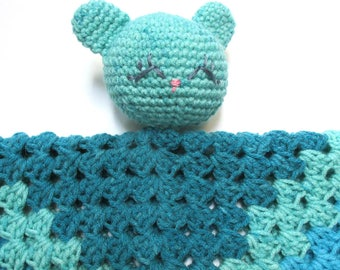 Baby bear blanket.  Crochet baby blanket with bear head.  Lovey.  Security blanket.  Blue bear blanket.  Ready to ship.