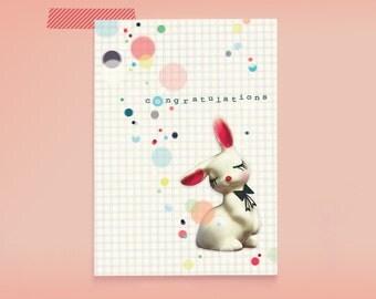 Postcard Congratulations Confetti Bunny