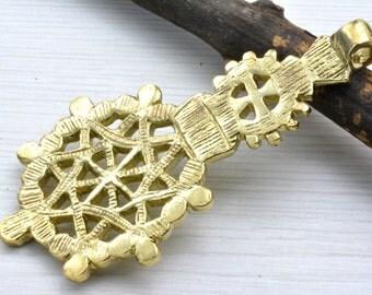 Huge Cross Pendant  , Ethiopian cross , gold cross , Made in Ethiopia , jewelry craft supplies