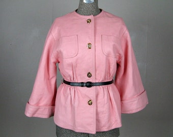 Vintage 1960s Leather Coat 60s FAB Pink Leather Jacket with Bracelet Sleeves and Toggle Clasps Size M