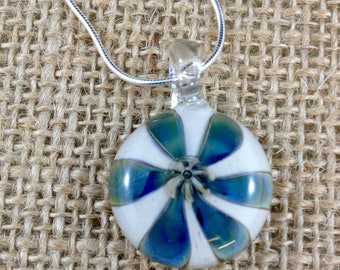 Lampwork Pinwheel Pendant on Sterling Silver Chain