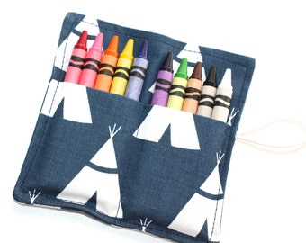 Teepee Tribal Birthday Party Favors, Crayon Rolls, Tribal Theme Birthday Party Decor, FAST SHIPPING, holds 8 to 10 crayon holders wraps