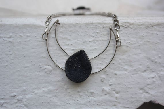 GEODE MOON NECKLACE - Rare Black Geode-  Sterling Silver Necklace -Moon Jewellery- Chakra Jewellery- Moon Jewellery- Black Onyx- Raw Crystal