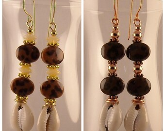 Animal Print Afrocentric Cowrie Shell African Earrings Tribal Earrings African Jewelry Ethnic Earrings Boho Earrings Boho Jewelry Handmade