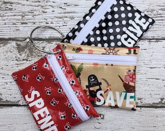Kids Pirate Cash Budgeting, Spend Save Give Wallet Set