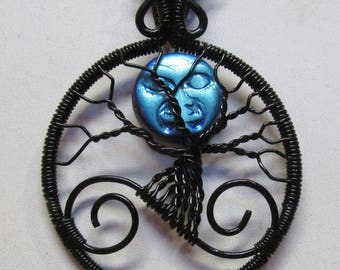 Iridescent Blue Man in the Moon Necklace, Blue Man In the Moon Jewelry, Blue Man in the Moon