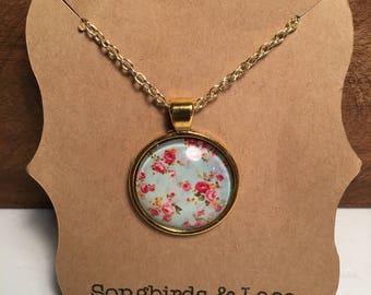 Aqua Floral Pendant on gold setting- 25mm