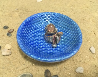 Mermaid Ring Dish - Sculpted Clay - Decor - Mermaid Scales - Glow in the Dark - Blue