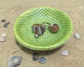 Mermaid Ring Dish - Sculpted Clay - Decor - Mermaid Scales - Glow in the Dark - Green