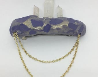 Hand Sculpted Clay and Raw Quartz with Gold Colored Metal Chain Hair Clip