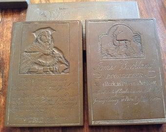 English Brass Rubbings Bookseller Print Block One Pair
